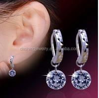 2015 Fashion Brilliant Rhinestone Platinum Plated diamond dangler earrings