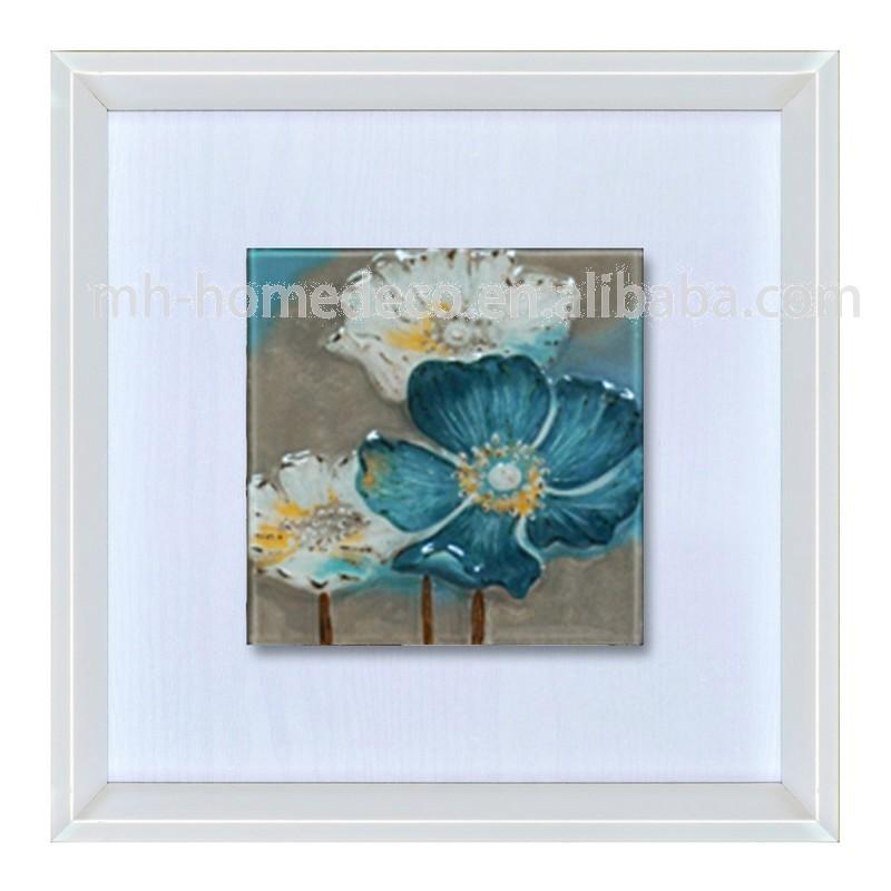 Modern Glass Wall Decor : Handmade glass framed modern wall art painting buy