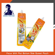 Stand up drink pouch with spout plastic packaging bag