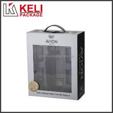 PVC window blister lining cardboard wine box with plastic handle