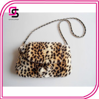 Stylish Leopard Fur Fold-Over Cross Body Messenger Bag For Lady
