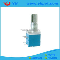 YH jiangsu 9mm mono single unit 200k ohm rotary stereo potentiometer with metal shaft