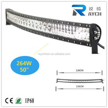 Hot and New Waterproof best quality automotive led lights 50 inch led light bar 4x4 264w led curved light bar