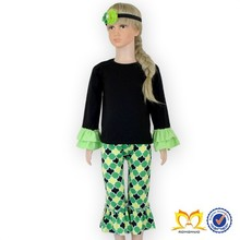 Black Tops and Green Pants with headbands Clothes Boutique Baby Girls Cheap Clothes