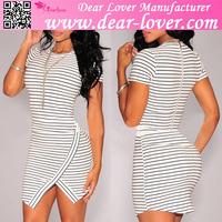 Black and White Striped Un-Even Hem Dress Sexy Vestidos Casuales