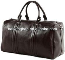 Unisex leather travel duffle bag