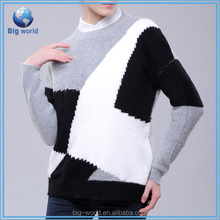 Big-world New Style crewneck women sweater woolen custom constrast color put together knitting pullover sweater for women