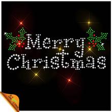 Pro-environmental stone merry christmas rhinestone motif