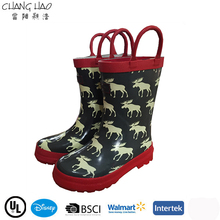2015 New Design Handle Style Has Elk Printing ,High Qulity And Cheap Rubber Rain Boot For Children