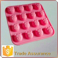 16-cavity silicone chocolate molds of cartoon character, pig shaped fondant molds