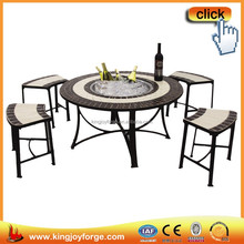 Chinese manufacturer fire pit table with ceramic tiles/ round table with lazy susan