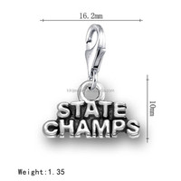 Alibaba Express Single Sided Antique Silver State Champs Word Charms With Lobster Clasp