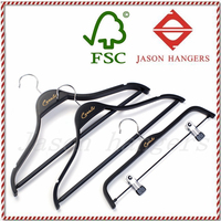 LF047JS Wholesale fashional black polywood clothes hanger
