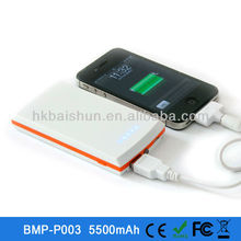 2013 Top selling!! 5500mah portable mobile charger with led flashlight for iPad/Mobile/MP3/4/GPS,with FCC,CE,RoHs