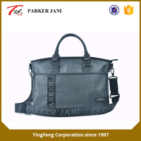 Gray non-shiny leather laptop briefcase for men