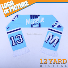 China Marketing Olympique de Marseille soccer/Football club Championship fans polyester Fleece knited stretchy blue Scarf