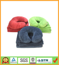 navy blue travel blanket with U shape pillow