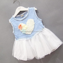 Latest Wholesale Children Clothing Baby Girls Summer Dresses Casual Sleeveless Denim Skirt For Baby Girls