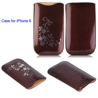 China Golden Supplier Flowers Pattern Pouch Bag Leather Mobile Phone Case for iPhone 6