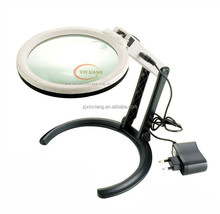 Doble lens table stand folding illuminating magnifier helping magnifying glass with stand with external power