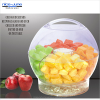 Round Plastic Salad bowl with Lid Acrylic Iced Salad bowl with handle and Divider