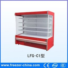 Supermarket commodity red color fashion looks open display refrigerator