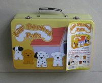 Portable travel tin case with handle and lock, gift box
