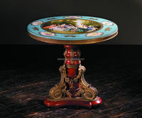 Luxury French Louis XV Style Pocelain Decorativ Coffee Table/Antique Curio Reproduction Round Table With Hand-made Porcelain Top