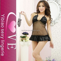 New Arrival Sexi Girls Black See-through Deep V-neck Hot Sex Image Sexy Babydoll