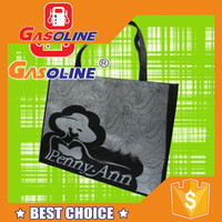 Reusable recyclable super quality drawstring black non woven bag