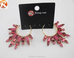 Fashion exaggerate crystal dangler earrings, elegant women's eardrop