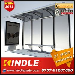 outdoor galvanized metal public modern solar one big lightbox and one small lightbox with advertising billboard