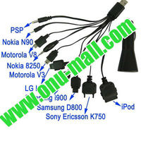 10 in 1 USB Car Charger with Cable for iPhone /Samsung Galaxy S IV / i9500 / S III / i9300 /Note II