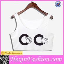 No MOQ Limited CC Cute White Crop Top Wholesale