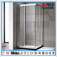 smart square style 8mm Tempered Glass shower sliding bath screen