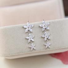 925 Sterling Silver Needle Flowers Zircon High-grade Stud Earrings