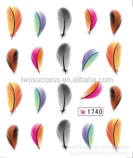 New Feather element Nail decal Sticker