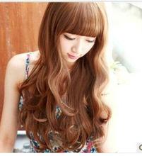 brown red beautiful fake wave long hair