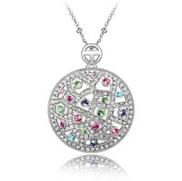 vintage style fashion round shape silver plated sand dollar crystal pendant necklace