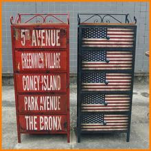 American country to do the old wrought iron wood furniture retro American flag 5 drawer storage lockers child