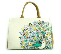 Peacock Print Secret Garden Series Women's Canvas Tote Bag