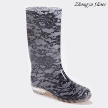 Pizzo stile pioggia stivali, stivali di gomma per le donne