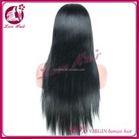 Long silky straight 100% unprocessed virgin brazilian human hair full lace wig with baby hair