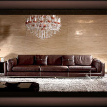 Luxury modern Anilline leather sofa with metal leg for living room