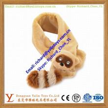 Soft raccoon scarf plush fabric scarf animal patterns