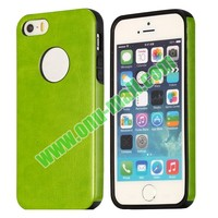 Shockproof Fashionable Leather Coated TPU Back Case for iPhone 5/ 5S