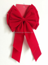 With Double wings Red Velvet Butterfly Ribbon Tie Bow on Card