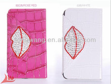 Luxury Sexy lip Shiny Bling Crystal Diamond Rhinestone Stand cover Flip Wallet PU Leather Case For samsung galaxy s4 i9500