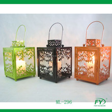 Colorful metal lantern with leaf design for home decoration ML-296