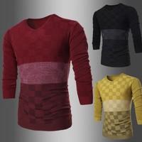 2015 New Arrive Men Sweater Patchwork Design V-neck Patchwork Design 3 colors